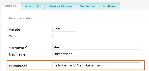 Personalisierung mehrerer Kontakt mit der Briefanrede