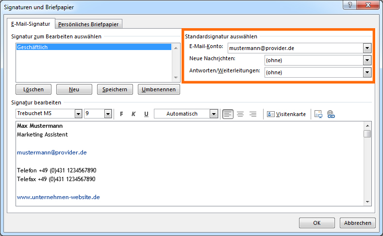 HTML-E-Mail-Signatur in Outlook 2013