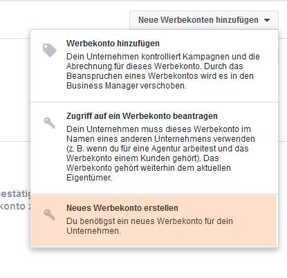 Facebook-Werbekonto mit Business Manager erstellen