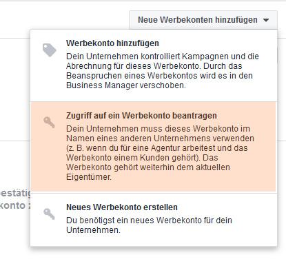 Zugriff auf Facebook-Werbekonto beantragen