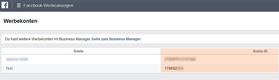Facebook-Werbekonto ID