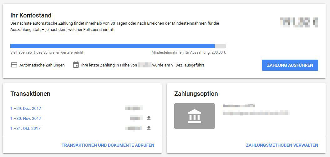 Google AdWords Rechnung herunterladen