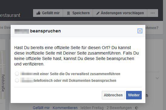 Facebook-Seite beanspruchen