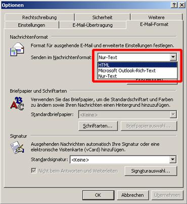 HTML-E-Mail-Signaturen Outlook 2000