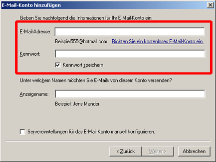 E-Mail-Konten Windows Live Mail