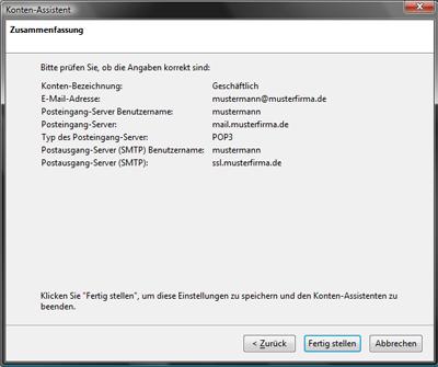 E-Mail-Konten Mozilla Thunderbird