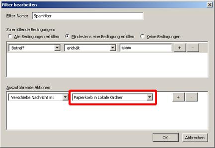 Filterregeln in Mozilla Thunderbird