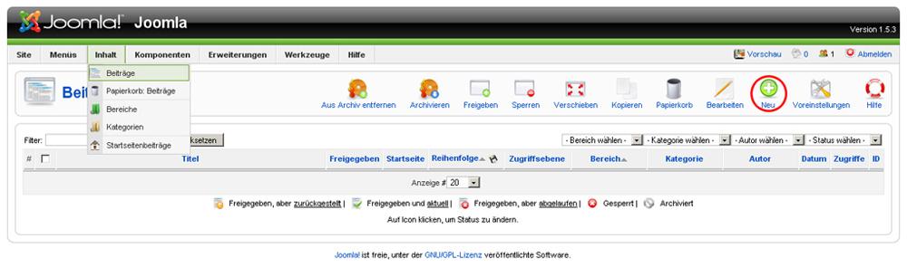 Joomla - Unterseiten erstellen und verlinken