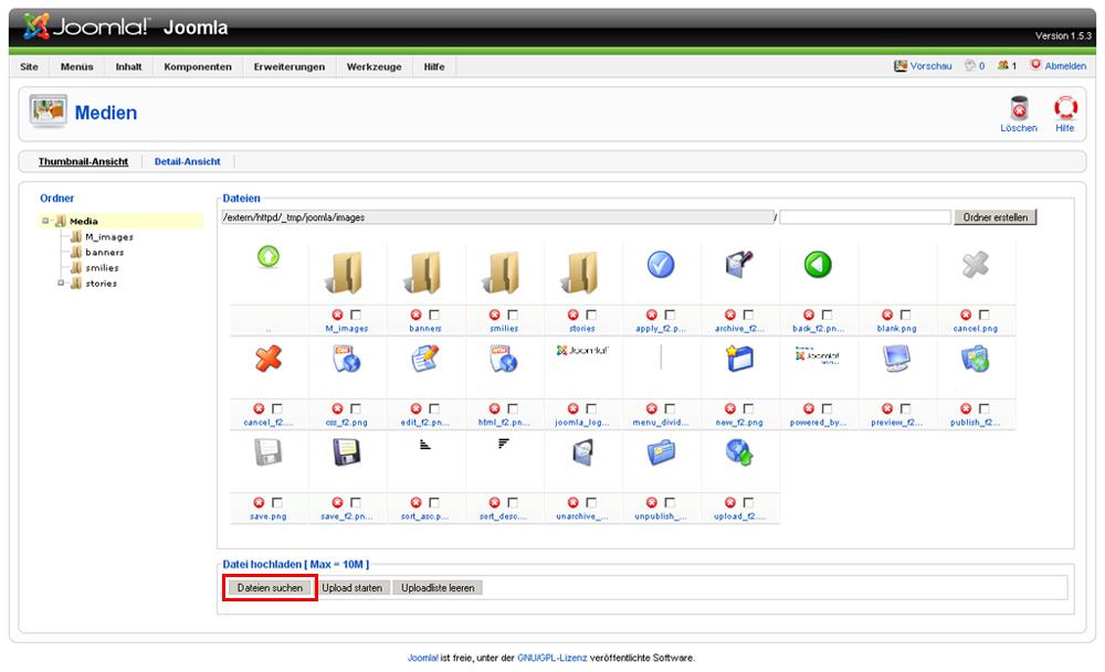 Joomla - Bilder hochladen und platzieren