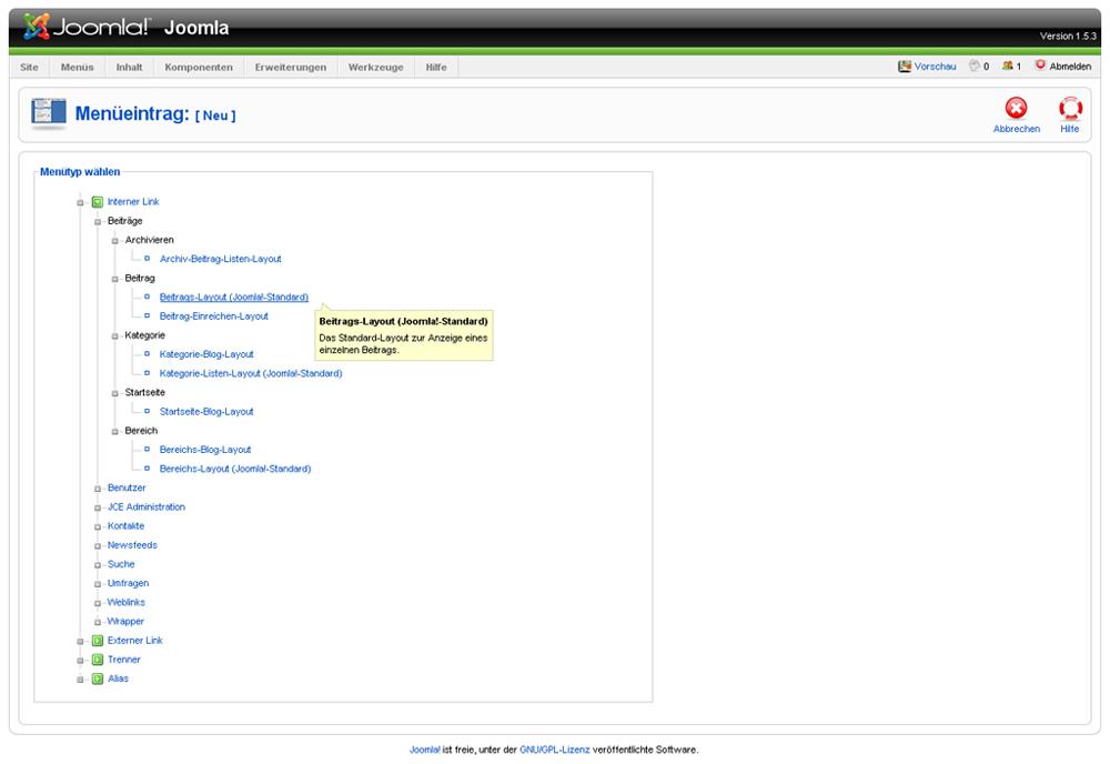 Joomla- Menüpunkte erstellen und verändern