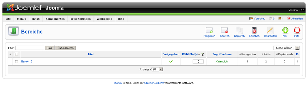 Joomla - Artikel- und Beitragskategorien verwalten