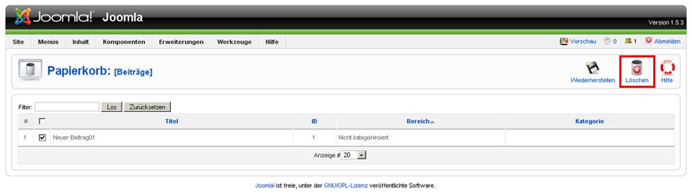 Joomla - Bilder, Beiträge, Menüpunkte löschen