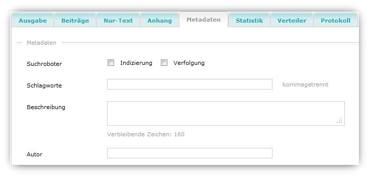 Metadaten für die Webversion hinterlegen