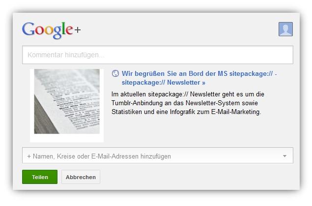 Neuer SWYN-Link für Google+ in Newslettern