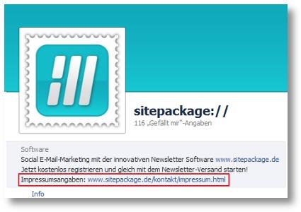 Impressum auf der Facebook-Seite von sitepackage://
