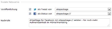 Hashtags beim Newsletter-Versand mit sitepackage:// setzen